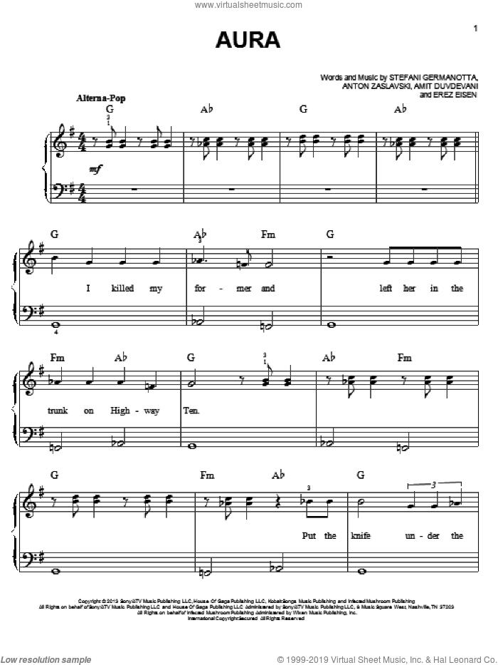 Aura sheet music for piano solo by Lady Gaga, Amit Duvdevani, Anton Zaslavski and Erez Eisen, easy skill level