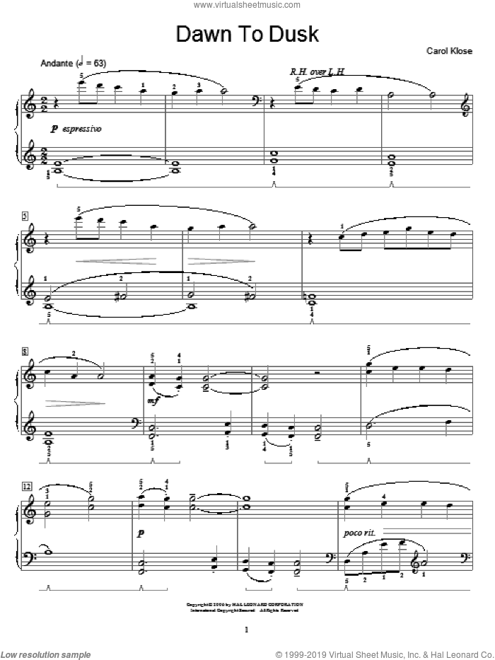 Dawn To Dusk sheet music for piano solo (elementary) by Carol Klose and Miscellaneous, beginner piano (elementary)