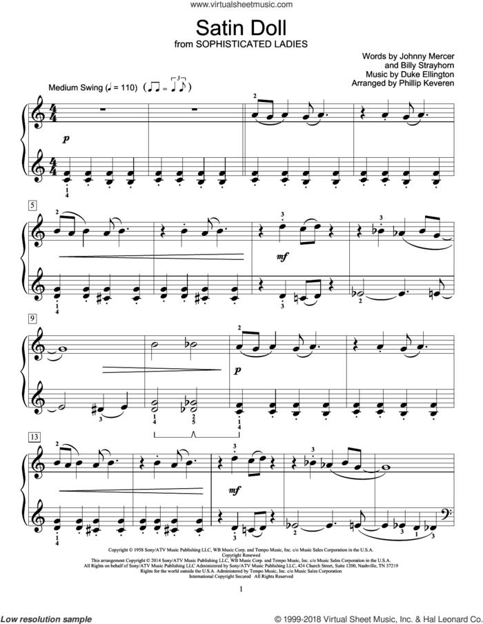 Satin Doll sheet music for piano solo (elementary) by Phillip Keveren, Billy Strayhorn, Duke Ellington, Johnny Mercer and Mona Rejino, beginner piano (elementary)