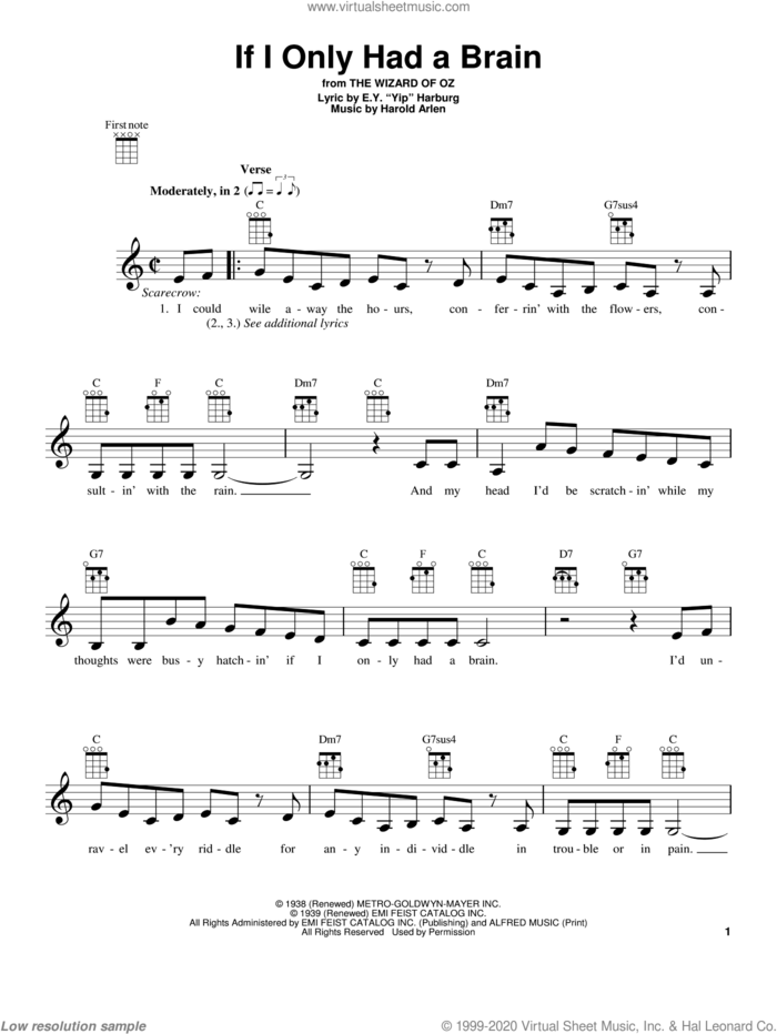 If I Only Had A Brain sheet music for ukulele by Harold Arlen and E.Y. Harburg, intermediate skill level