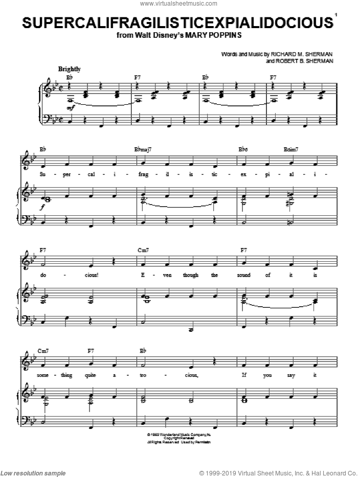 Supercalifragilisticexpialidocious sheet music for voice, piano or guitar by Richard M. Sherman and Robert B. Sherman, intermediate skill level