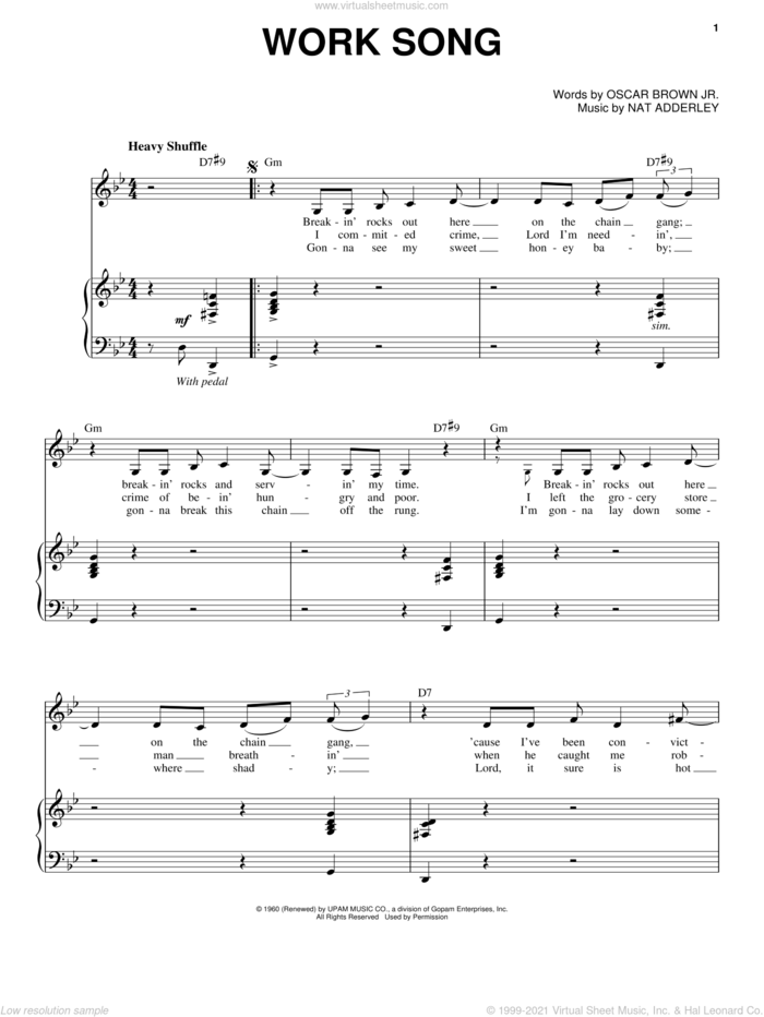 Work Song sheet music for voice and piano by Nina Simone, Cannonball Adderley, Nat Adderley and Oscar Brown, Jr., intermediate skill level