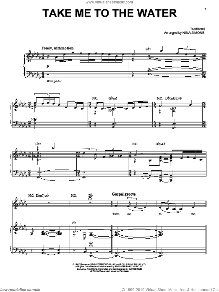 Take Me To The Water sheet music for voice and piano by Nina Simone, intermediate skill level