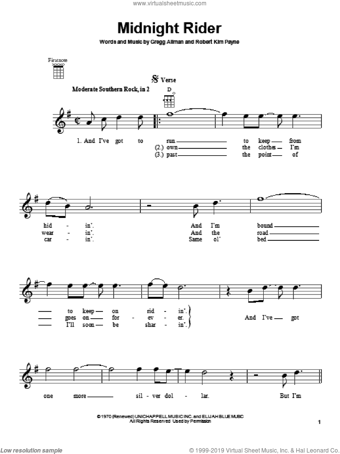 Midnight Rider sheet music for ukulele by Allman Brothers Band, Gregg Allman and Robert Kim Payne, intermediate skill level
