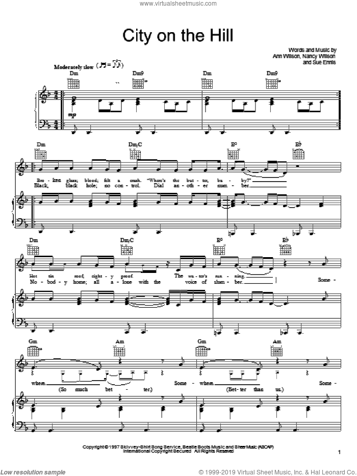 City On The Hill sheet music for voice, piano or guitar by Heart, Ann Wilson, Nancy Wilson and Sue Ennis, intermediate skill level
