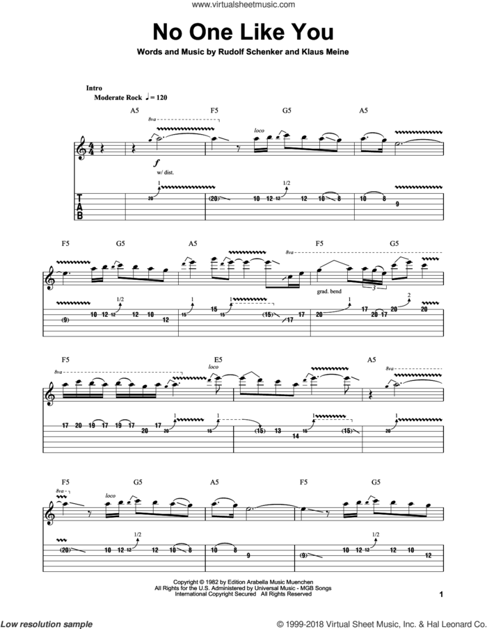No One Like You sheet music for guitar (tablature, play-along) by Scorpions, Klaus Meine and Rudolf Schenker, intermediate skill level