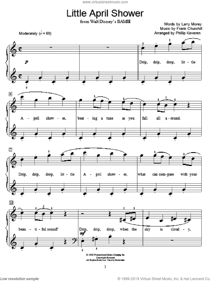 Little April Shower sheet music for piano solo (elementary) by Frank Churchill, Phillip Keveren, Miscellaneous and Larry Morey, beginner piano (elementary)