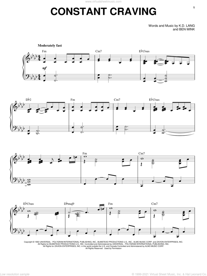 Constant Craving sheet music for voice and piano by k.d. lang and Ben Mink, intermediate skill level