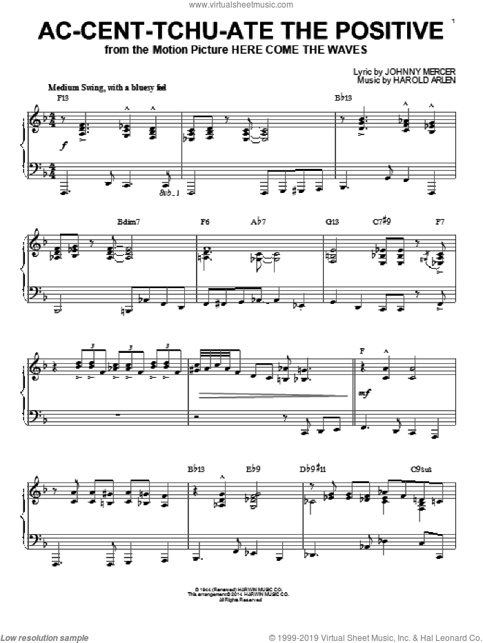 Ac-cent-tchu-ate The Positive [Jazz version] (arr. Brent Edstrom) sheet music for piano solo by Johnny Mercer and Harold Arlen, intermediate skill level