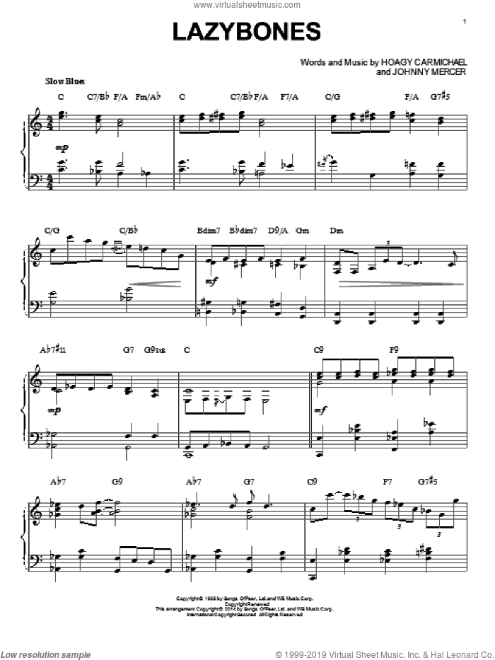 Lazybones [Jazz version] (arr. Brent Edstrom) sheet music for piano solo by Johnny Mercer and Hoagy Carmichael, intermediate skill level