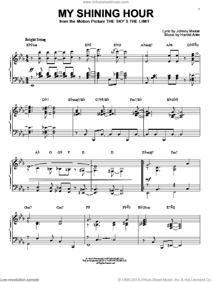 My Shining Hour [Jazz version] (arr. Brent Edstrom) sheet music for piano solo by Johnny Mercer and Harold Arlen, intermediate skill level