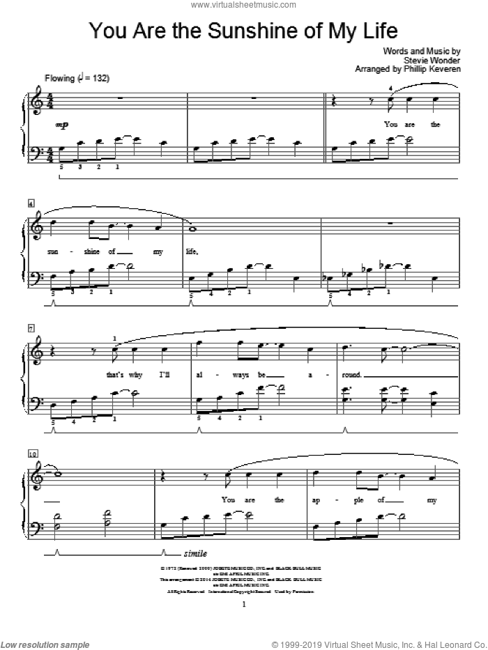 You Are The Sunshine Of My Life sheet music for piano solo (elementary) by Phillip Keveren and Stevie Wonder, beginner piano (elementary)