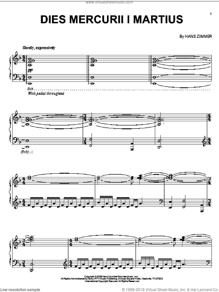 Dies Mercurii I Martius sheet music for piano solo by Hans Zimmer and The Da Vinci Code (Movie), intermediate skill level