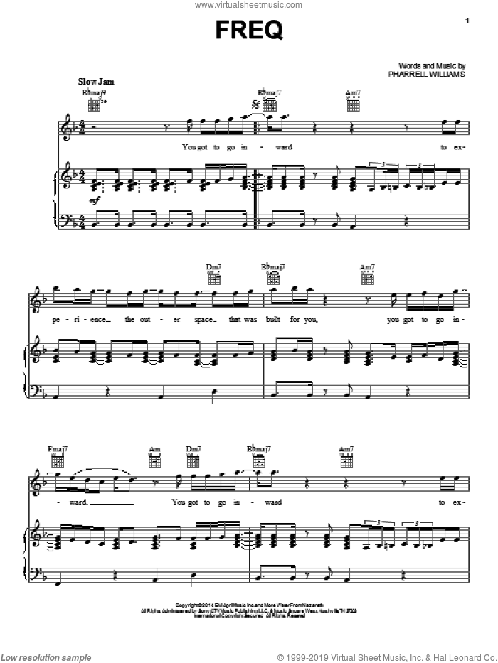 Freq sheet music for voice, piano or guitar by Pharrell Williams and Pharrell, intermediate skill level