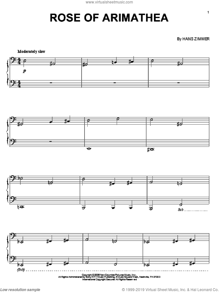 Rose Of Arimathea sheet music for piano solo by Hans Zimmer and The Da Vinci Code (Movie), intermediate skill level