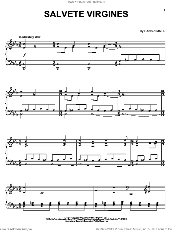 Salvete Virgines sheet music for piano solo by Hans Zimmer, The Da Vinci Code (Movie) and Abhay Manusmare, intermediate skill level