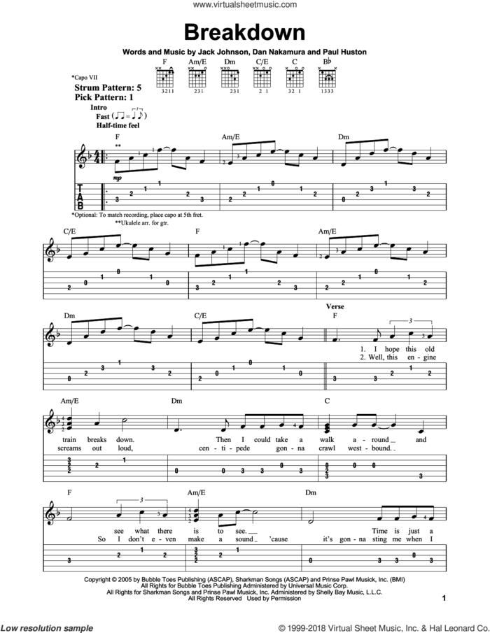 Breakdown sheet music for guitar solo (easy tablature) by Jack Johnson, Dan Nakamura and Paul Huston, easy guitar (easy tablature)