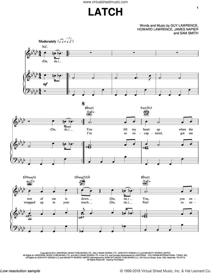Latch sheet music for voice, piano or guitar by Disclosure featuring Sam Smith, Disclosure, Guy Lawrence, Howard Lawrence, James Napier and Sam Smith, intermediate skill level
