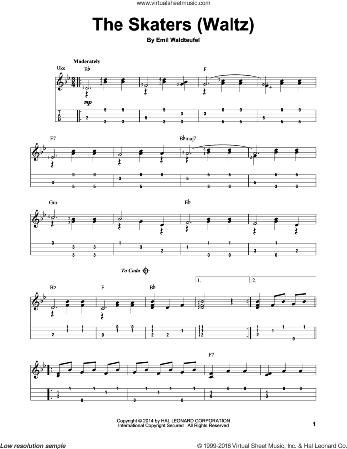 The Skaters (Waltz) sheet music for ukulele (easy tablature) (ukulele easy tab) by Emile Waldteufel, classical score, intermediate skill level