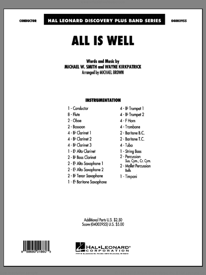 All Is Well (COMPLETE) sheet music for concert band by Michael Brown, Michael W. Smith and Wayne Kirkpatrick, intermediate skill level