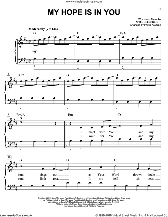 My Hope Is In You (arr. Phillip Keveren) sheet music for piano solo by Aaron Shust, Phillip Keveren and April Geesbreght, easy skill level