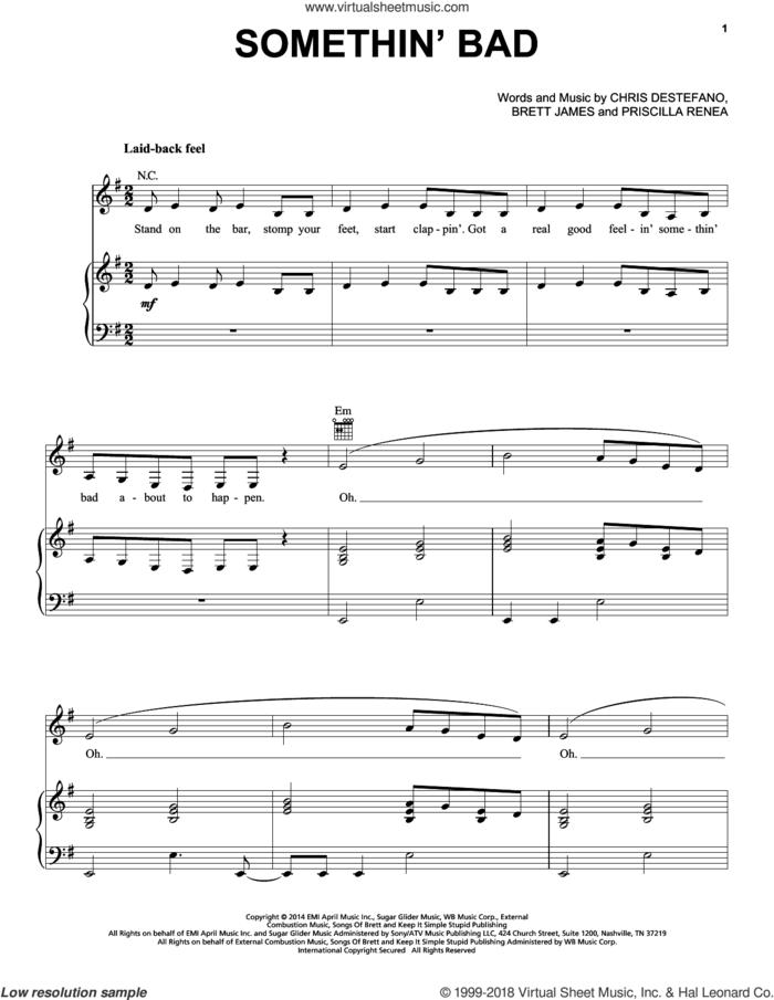 Somethin' Bad sheet music for voice, piano or guitar by Miranda Lambert, Miranda Lambert with Carrie Underwood, Brett James, Chris Destefano and Priscilla Renea, intermediate skill level