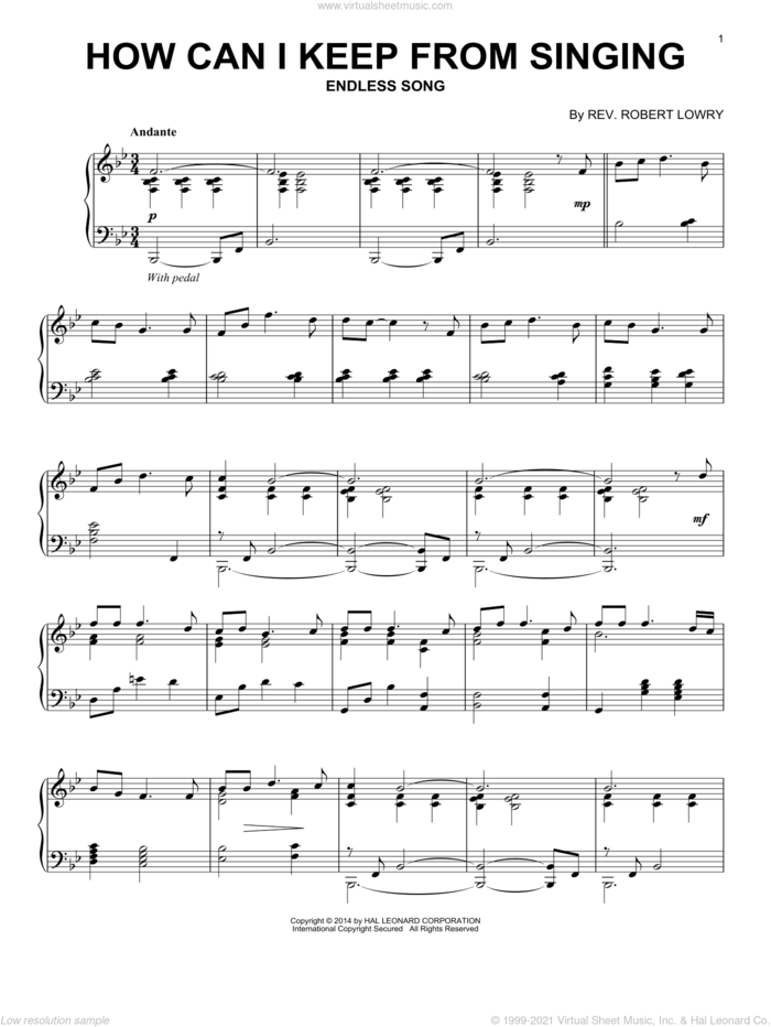 How Can I Keep From Singing sheet music for piano solo by Robert Lowry, intermediate skill level