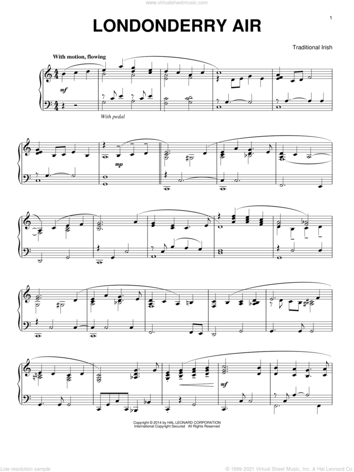 Londonderry Air sheet music for piano solo by Traditional Irish, intermediate skill level