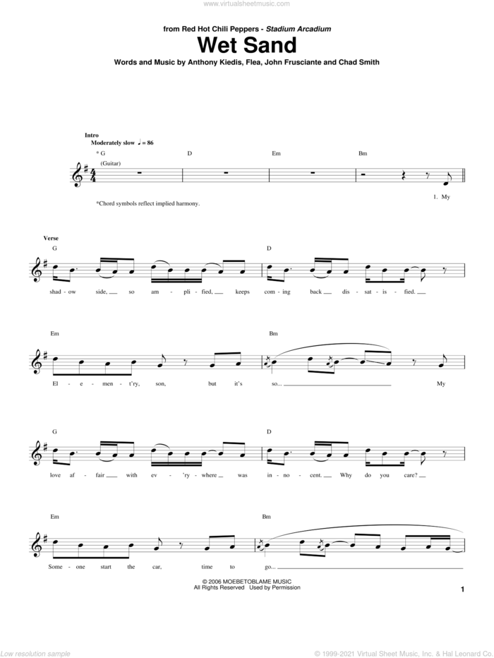Wet Sand sheet music for bass (tablature) (bass guitar) by Red Hot Chili Peppers, Anthony Kiedis, Chad Smith, Flea and John Frusciante, intermediate skill level