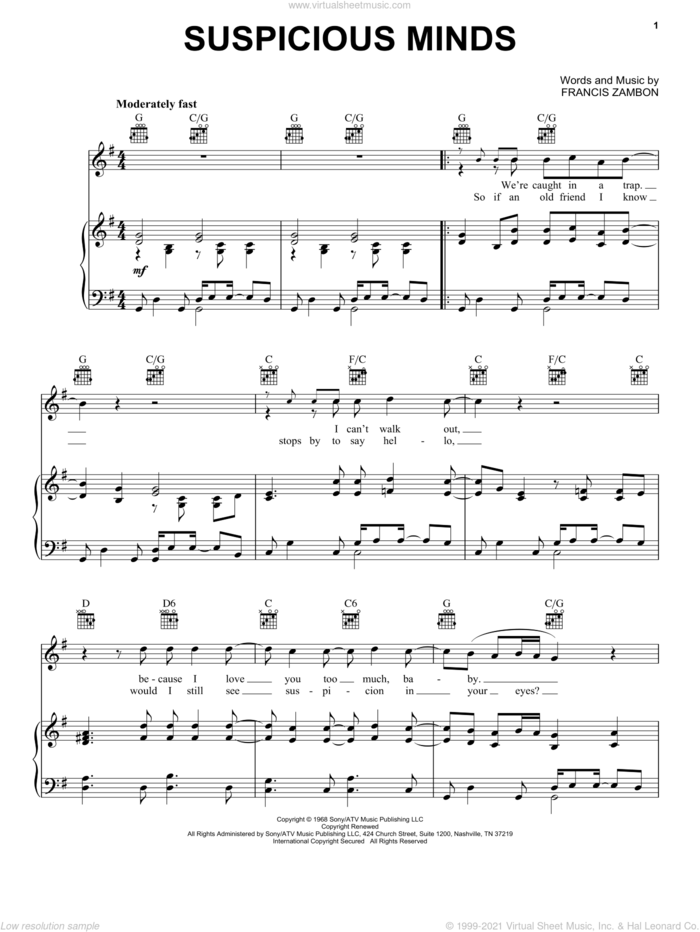 Suspicious Minds sheet music for voice, piano or guitar by Elvis Presley, Dwight Yoakam, Lilo & Stitch (Movie) and Francis Zambon, intermediate skill level