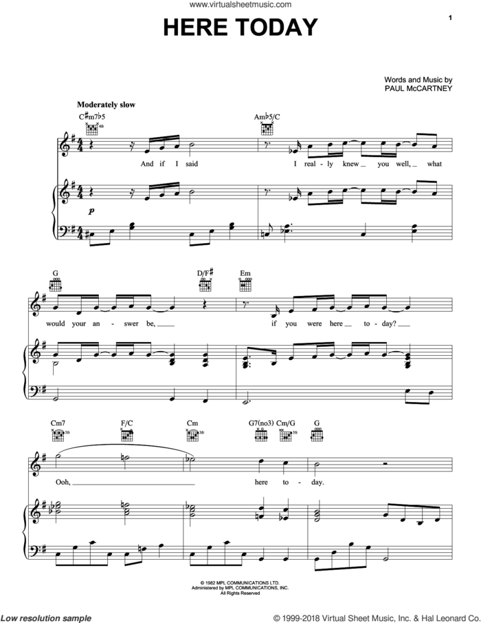 Here Today sheet music for voice, piano or guitar by Paul McCartney, intermediate skill level