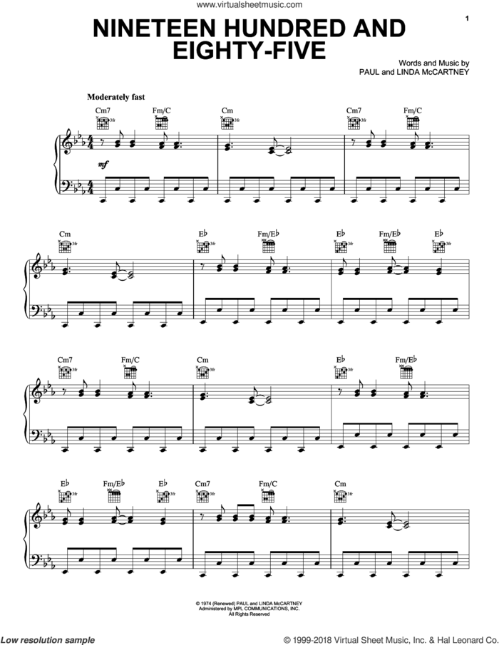 Nineteen Hundred And Eighty-Five sheet music for voice, piano or guitar by Paul McCartney and Linda McCartney, intermediate skill level