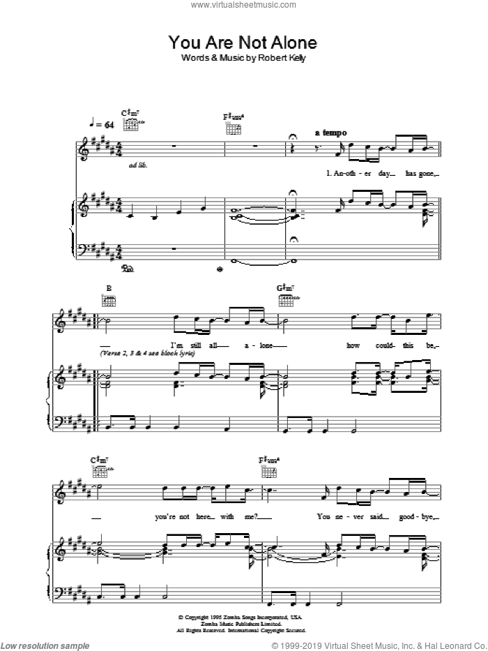 You Are Not Alone sheet music for voice, piano or guitar by Michael Jackson and Robert Kelly, intermediate skill level