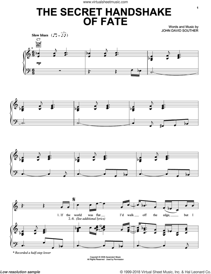 The Secret Handshake Of Fate sheet music for voice, piano or guitar by John David Souther, intermediate skill level