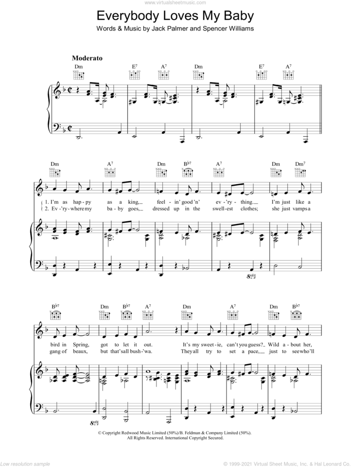 Everybody Loves My Baby (But My Baby Don't Love Nobody But Me) sheet music for voice, piano or guitar by Jack Palmer and Spencer Williams, intermediate skill level