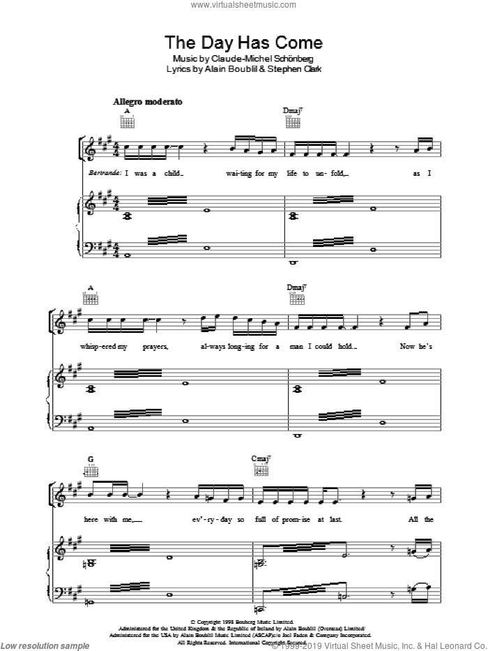 The Day Has Come (from Martin Guerre) sheet music for voice, piano or guitar by Claude-Michel Schonberg, Martin Guerre (Musical), Alain Boublil, Boublil and Schonberg and Steve Clark, intermediate skill level