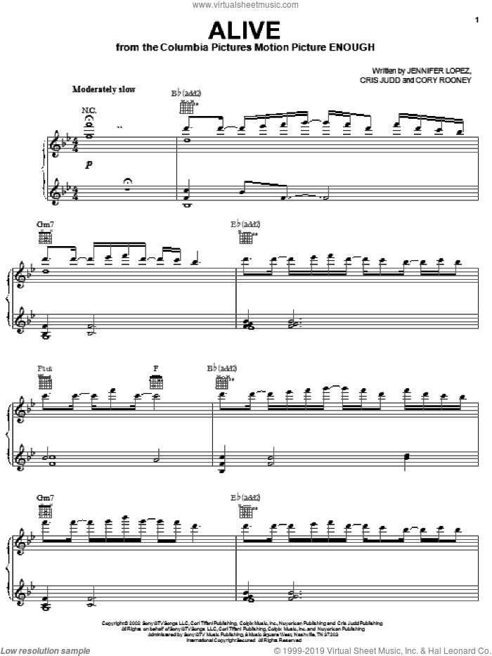 Alive sheet music for voice, piano or guitar by Jennifer Lopez, Cory Rooney and Cris Judd, intermediate skill level