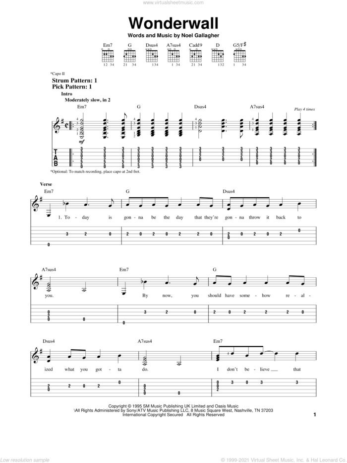 Wonderwall sheet music for guitar solo (easy tablature) by Oasis and Noel Gallagher, easy guitar (easy tablature)