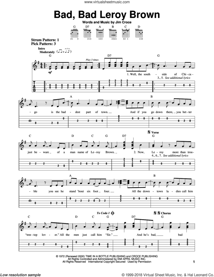 Bad, Bad Leroy Brown sheet music for guitar solo (easy tablature) by Jim Croce and Frank Sinatra, easy guitar (easy tablature)