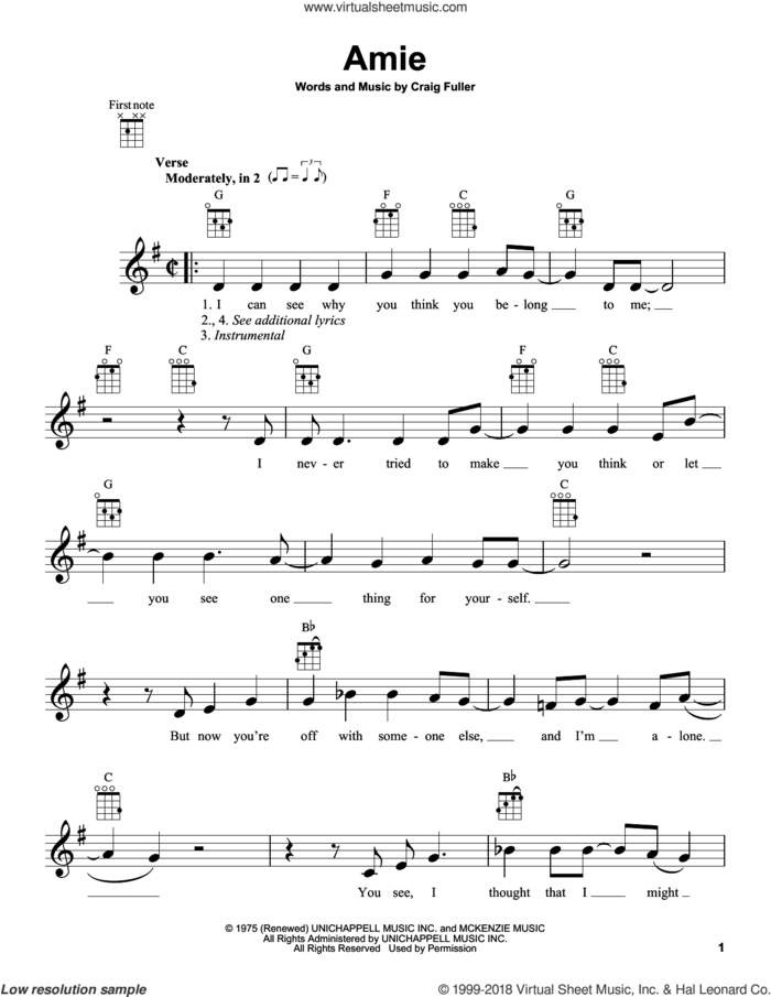 Amie sheet music for ukulele by Pure Prairie League and Craig Fuller, intermediate skill level
