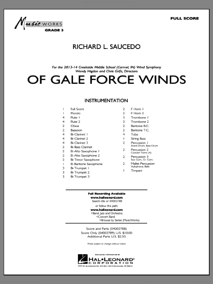 Of Gale Force Winds (COMPLETE) sheet music for concert band by Richard L. Saucedo, intermediate skill level