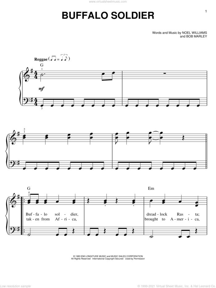 Buffalo Soldier sheet music for piano solo by Bob Marley and Noel Williams, easy skill level