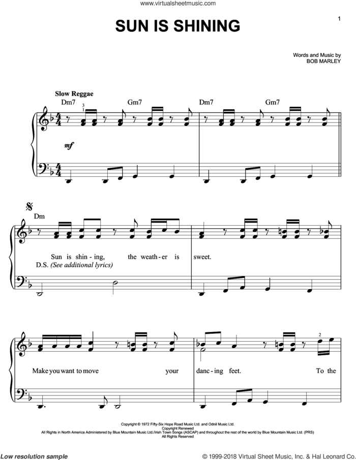 Sun Is Shining sheet music for piano solo by Bob Marley, easy skill level