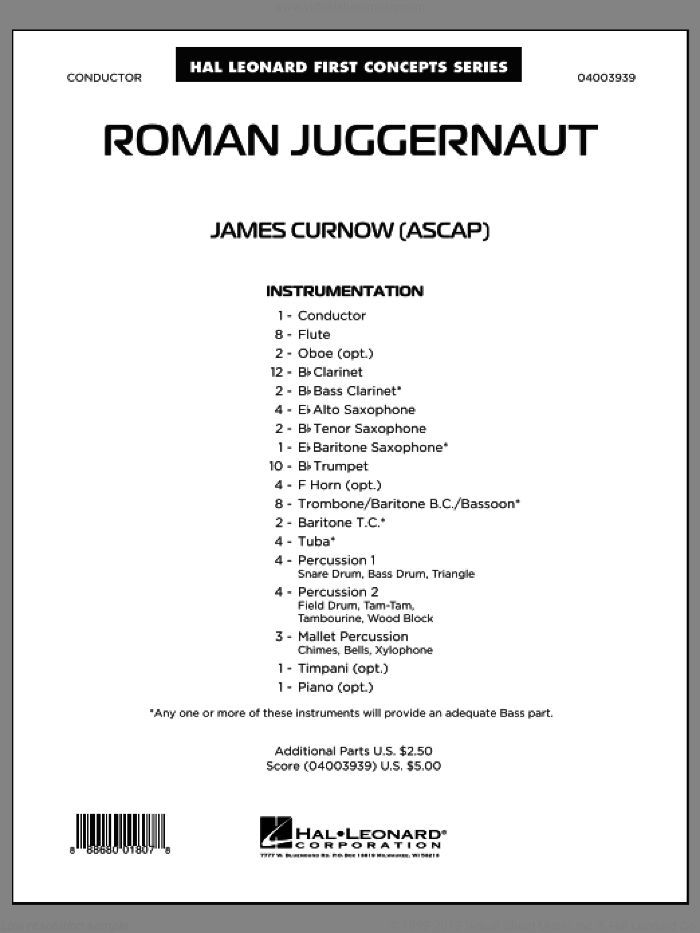 Roman Juggernaut (COMPLETE) sheet music for concert band by James Curnow, classical score, intermediate skill level