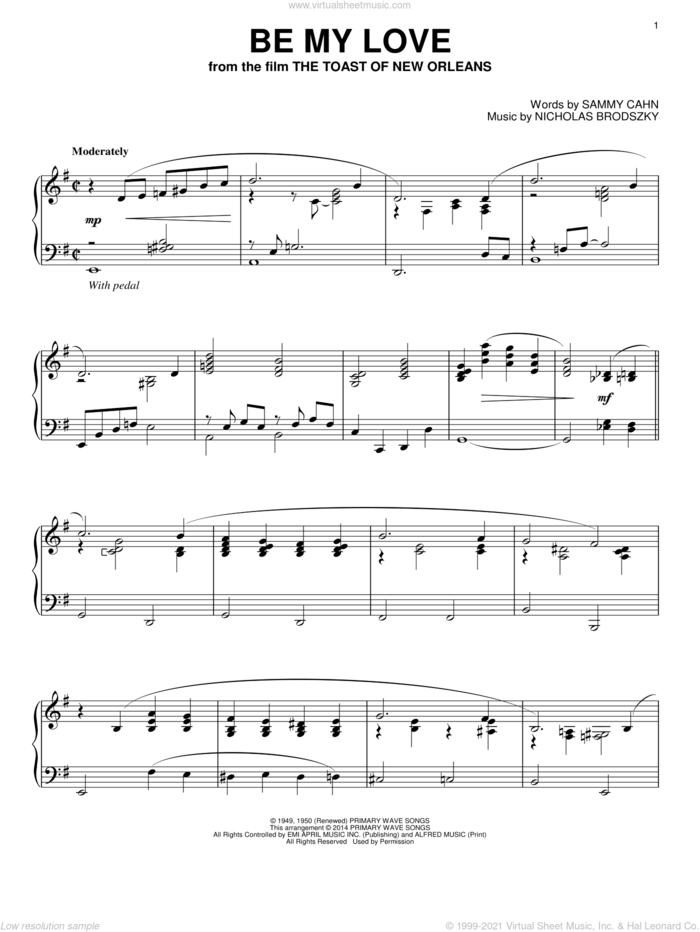 Be My Love sheet music for piano solo by Sammy Cahn and Nicholas Brodszky, intermediate skill level