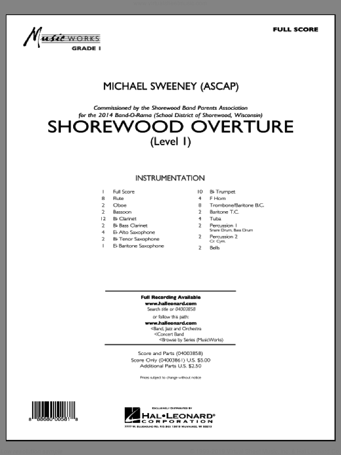 Shorewood Overture (for Multi-level Combined Bands) (COMPLETE) sheet music for concert band by Michael Sweeney, classical score, intermediate skill level
