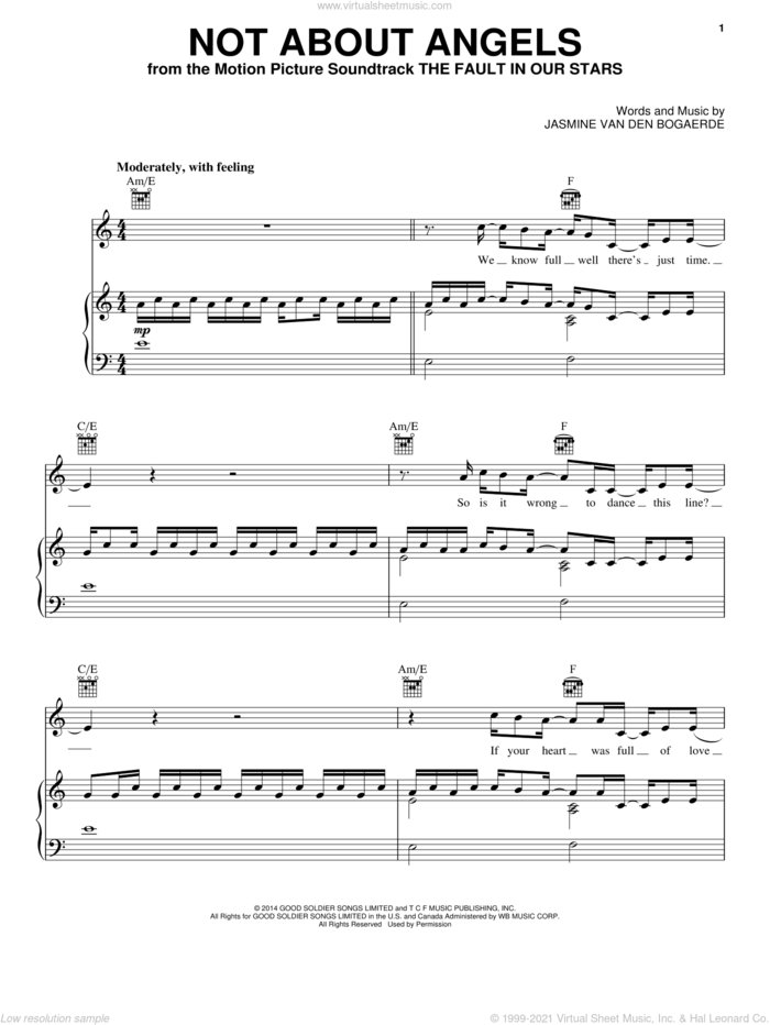 Not About Angels sheet music for voice, piano or guitar by Birdy and Jasmine Van Den Bogaerde, intermediate skill level