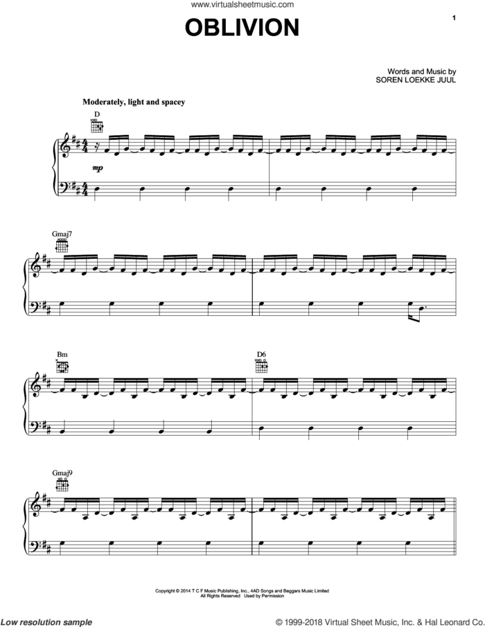 Oblivion sheet music for voice, piano or guitar by Indians and Soren Loekke Juul, intermediate skill level