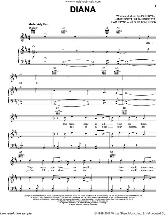Diana sheet music for voice, piano or guitar by One Direction, Jamie Scott, John Ryan, Julian Bunetta, Liam Payne and Louis Tomlinson, intermediate skill level
