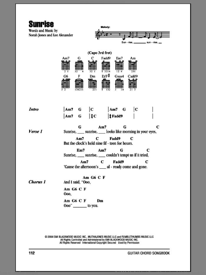 Sunrise sheet music for guitar (chords) by Norah Jones and Lee Alexander, intermediate skill level